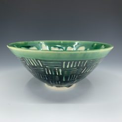 Bowl - Candy Green with Basketweave