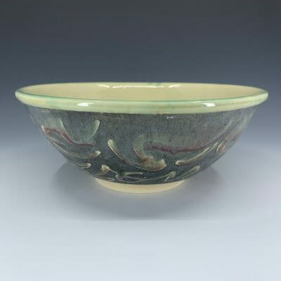 Large Bowl - Calligraphy Relief in Dark Green