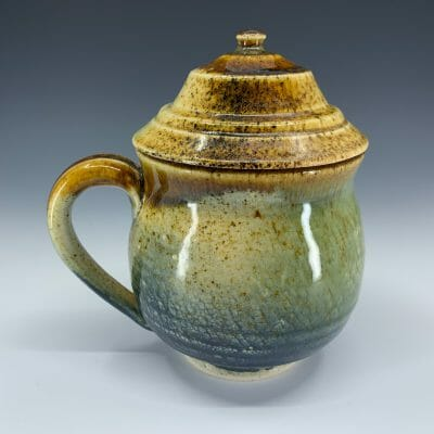 Mug - Blue and Gold with Lid