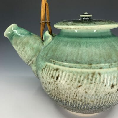 Teapot - Green with reed handle